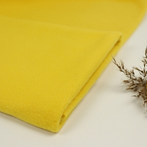 Bio Baumwollfleece Stoff senf gelb uni Stoffonkel