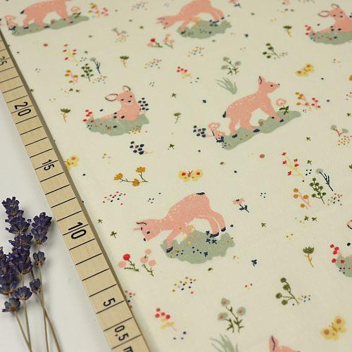 Bio Double Gauze Baumwollstoff Little Deer weiß von Birch Fabrics