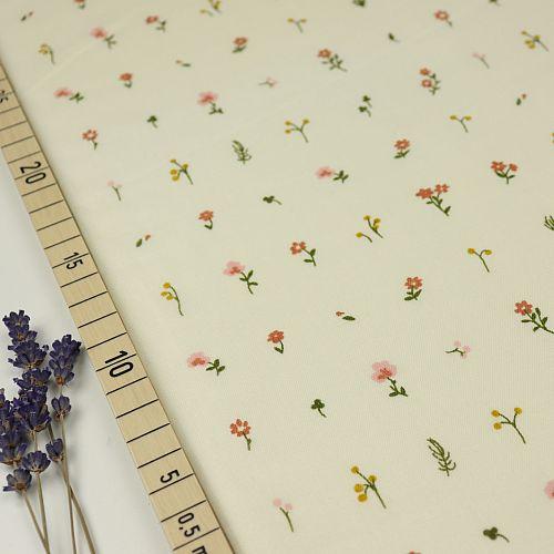Bio Double Gauze Baumwollstoff Morning Bloom weiß von Birch Fabrics