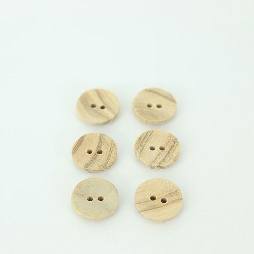 Bio Holzknopf Olivenholz geschüsselt 15mm im Set