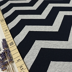 Bio Interlock Jacquard Chevron in Dark Blue - Nevis von Stoffonkel