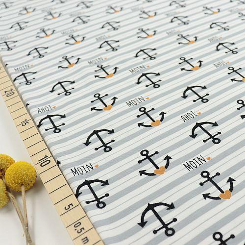 Bio Jersey Motiv Goldanker von Stoffonkel in weiß grau gestreift