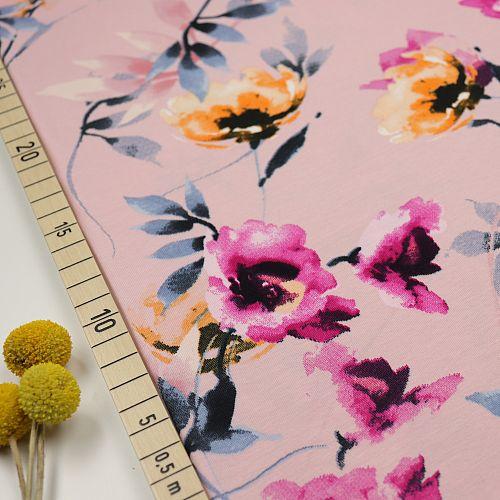 Bio Jersey Motiv Hibiskus von Stoffonkel in rosa