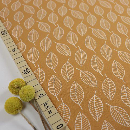 Bio Jersey Motiv Single Leave herbstgold von Stoffonkel