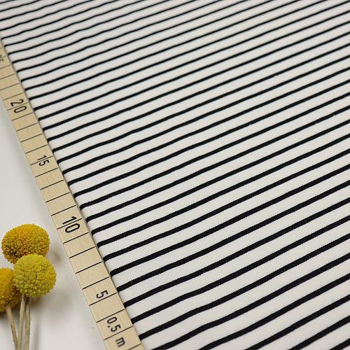 Bio Jersey Stoff Streifen weiß schwarz Ringeljersey