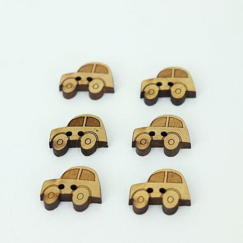 Bio Kinder Holzknöpfe kleines Auto 18mm im Set