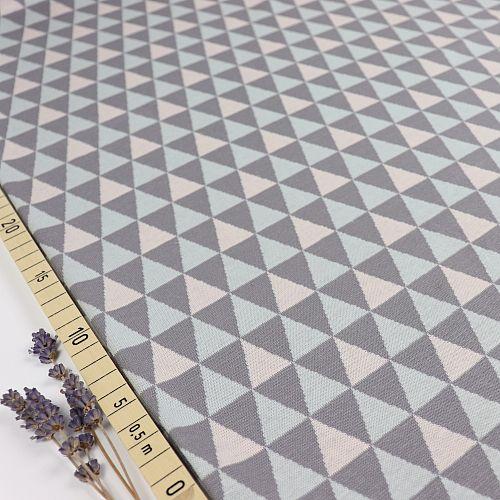 Bio Kuscheljacquard Dreiecke grau von Stoffonkel