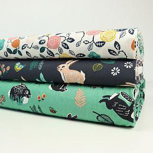 Bio Popeline Baumwollstoff Bunny Hop green grün von Birch Fabrics