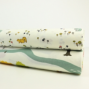 Bio Popeline Baumwollstoff Campout Main weiß von Birch Fabrics