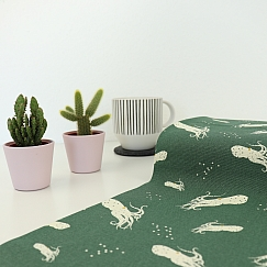 Bio Canvas Baumwollstoff Octo School grün von Birch Fabrics
