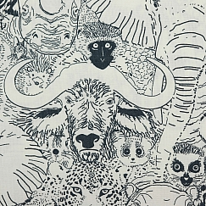 Bio Popeline Baumwollstoff Wild Thing Grey aus der Serie Grasslands von Cloud9