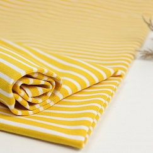 Bio Bündchen Stoff gestreift (Ringelbündchen) senf gelb Stoffonkel