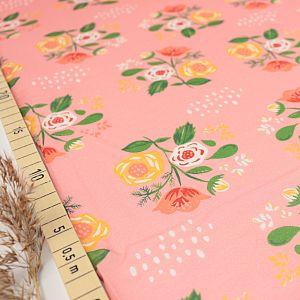 Bio Cotton Lawn Baumwollstoff Bouquet on Pink von Monaluna