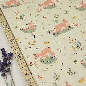 Bio Double Gauze Baumwolle Little Deer weiß von Birch Fabrics