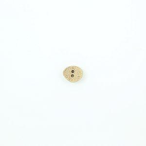 Bio Holzknopf Olivenholz oval mit Blumenmuster 15mm