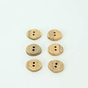 Bio Holzknopf Olivenholz oval mit Blumenmuster 15mm im Set