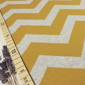 Bio Interlock Jacquard Chevron in Curry - Nevis von Stoffonkel