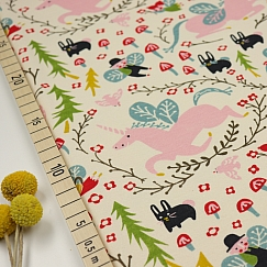 Bio Interlock Jersey Enchanted Unicorns cream von Birch Fabrics