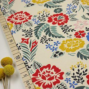 Bio Interlock Jersey Merry Floral weiß mit Blumen von Birch Fabrics