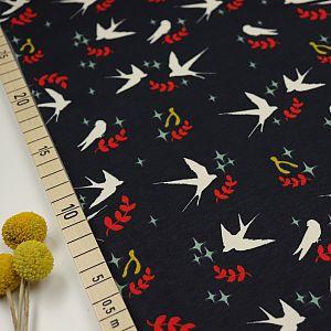 Bio Interlock Jersey Swallow Dusk blau von Birch Fabrics