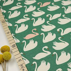Bio Interlock Jersey Swan Lake grün von Birch Fabrics
