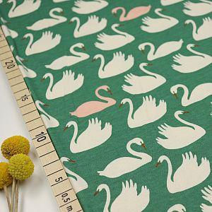 Bio Interlock Jersey Bevy Pondshell Swan Lake grün von Birch Fabrics