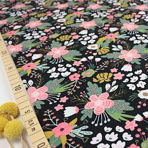 Bio Jersey Flowers in schwarz