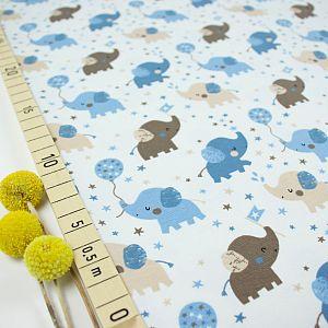Bio Jersey Motiv Babyelefant von Stoffonkel in grau