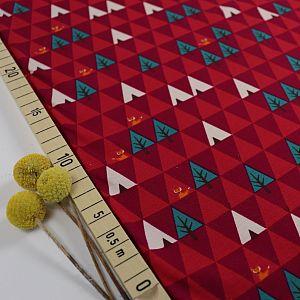 Bio Jersey Motiv Triangle Tipi in rot von Stoffonkel