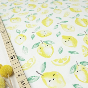 Bio Jersey Motiv Zitronen Aquarell von Stoffonkel in weiß