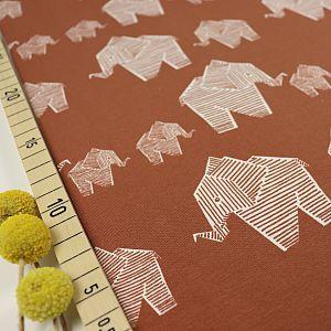 Bio Jersey Origami Motiv Elephant von Stoffonkel in karamell