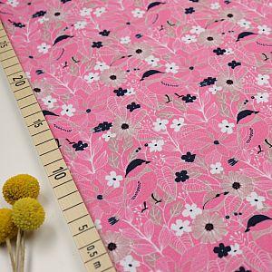 Bio Jersey Stoff Blumen und Vögel rosa