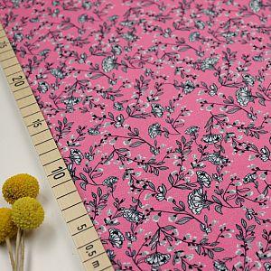Bio Jersey Stoff Blumenmotiv Nelke rosa