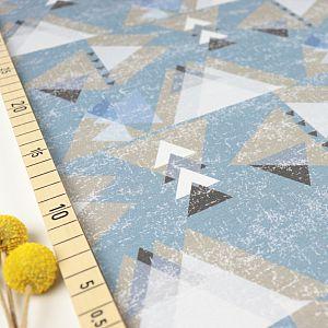 Bio Jersey Stoff mit Grafik Dreiecke in denim blau von Fabrilogy