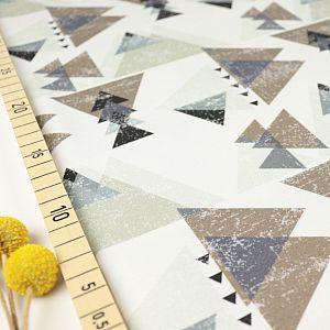 Bio Jersey Stoff mit Grafik Dreiecke in grau von Fabrilogy