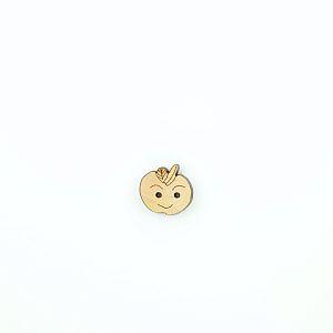 Bio Kinder Holzknopf Äpfelchen mit Gesicht 18mm