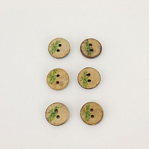 Bio Knöpfe Kokosnuss Blumendesign grün 15mm im Set