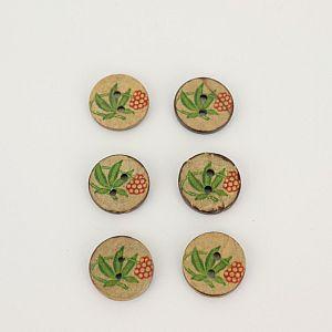 Bio Knöpfe Kokosnuss Blumendesign rot-grün 18mm im Set