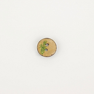 Bio Knopf Kokosnuss Blumendesign grün 15mm