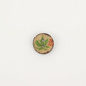 Bio Knopf Kokosnuss Blumendesign rot-grün 18mm
