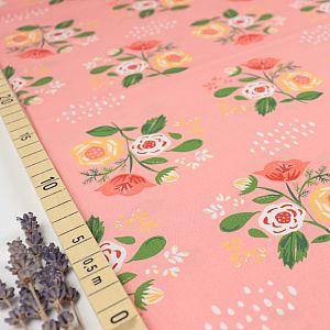 Bio Popeline Baumwollstoff Bouquet on Pink von Monaluna