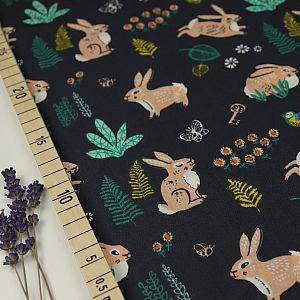 Bio Popeline Baumwollstoff Bunny Hop dusk blau von Birch Fabrics