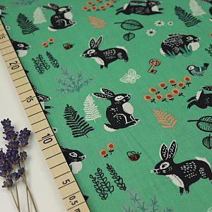Bio Popeline Baumwolle Bunny Hop green grün von Birch Fabrics