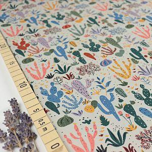 Bio Popeline Baumwollstoff Cacti and Succulents aus der Serie Arid Wilderness von Cloud9