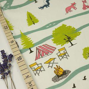 Bio Popeline Baumwolle Campout Main weiß von Birch Fabrics