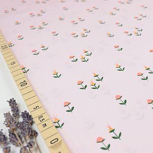 Bio Popeline Baumwollstoff Clover on Pink von Monaluna
