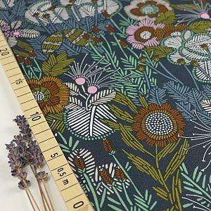 Bio Popeline Baumwollstoff Embroidered Floral aus der Serie Grasslands von Cloud9