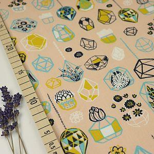 Bio Popeline Baumwolle Hanging Terrarium beige von Birch Fabrics