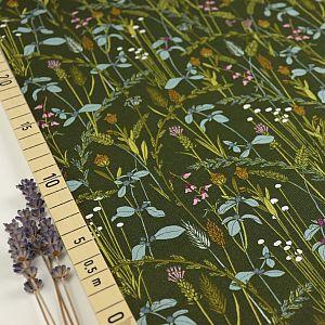 Bio Popeline Baumwollstoff Little Grasses aus der Serie Grasslands von Cloud9 Reststück 0,28m