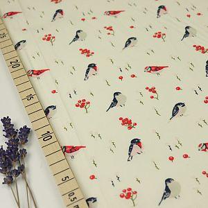 Bio Popeline Baumwollstoff Love Birds weiß von Birch Fabrics